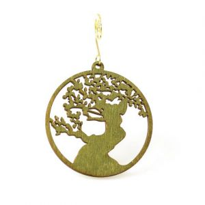 Bonsai Tree Birch Wood Ornament | Green Tree Jewelry