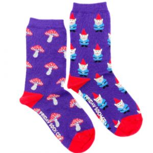 Garden Gnome and Mushrooms Mismatched Crew Socks | Friday Sock Co.