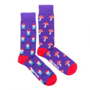 Garden Gnome and Mushrooms Mismatched Socks | Friday Sock Co.