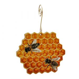 Honeycomb Bees Birch Wood Ornament | Green Tree Jewelry