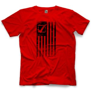 justin labar red wrestling short sleeve reality check shirt front view