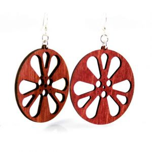 Film Reel Wood Earrings - Red | Green Tree Jewelry