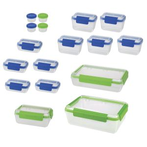 SnapLock 36-Piece Food Container Set Blue/Green
