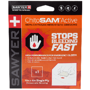 ChitoSAM Active 4x4 inch Single Ply - Chitosan First Aid Dressing